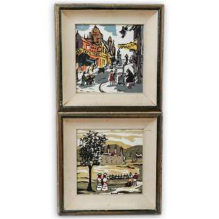 (2 Pc) French Painted Tile Framed Plaques