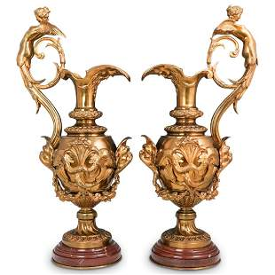 Victor Paillard Dore Bronze and Rouge Marble Ewers