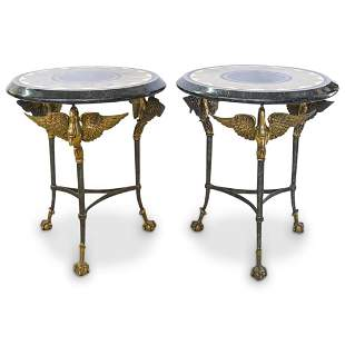 Pair Of Maitland Smith Figural Swan Tables