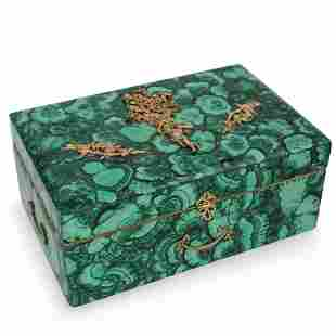 Imperial Russian Style Malachite and Sterling Box