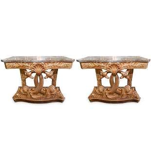 Italian Gilt Carved Dolphin Console Tables