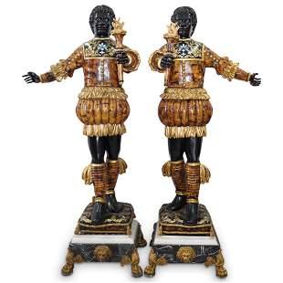 Pair Of Monumental Venetian Style Blackamoors