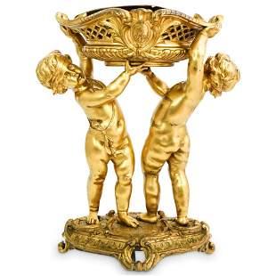 French Figural Gilt Bronze Centerpiece Vase
