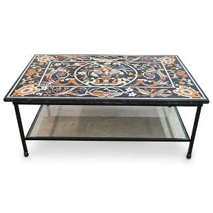 Pietra Dura Variegated Marble & Stone Inlaid Coffee