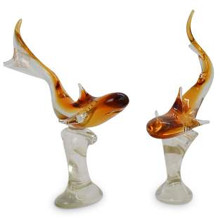 """Pair Of """"Signoretto"""" Glass Sharks"""