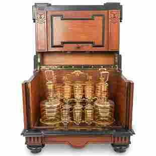 Antique Wood Tantalus Set