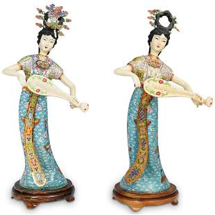 Pair of Chinese Cloisonne Figurines