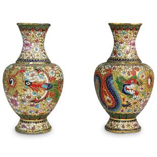 (2 Pc) Pair of Chinese Cloisonne Vases
