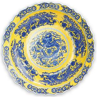 Chinese Blue & Yellow Porcelain Charger