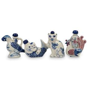 (4Pc) Chinese Figural Porcelain Snuff Bottles