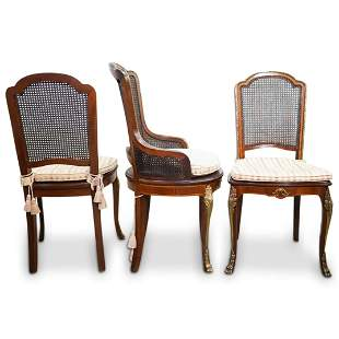 (6Pc) French Provincial Bronze Mounted Wood Chairs
