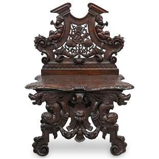 Antique Renaissance Carved Wood Chair