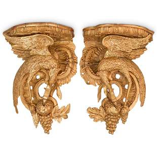 (2 Pc) French Antique Giltwood Phoenix Wall Brackets