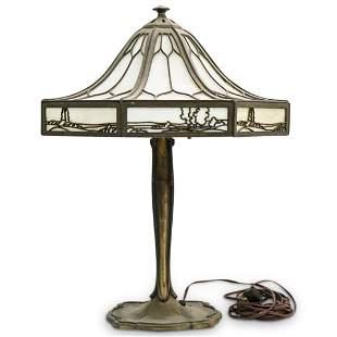 Antique Art Nouveau Bradley Hubbard Slag Glass Lamp