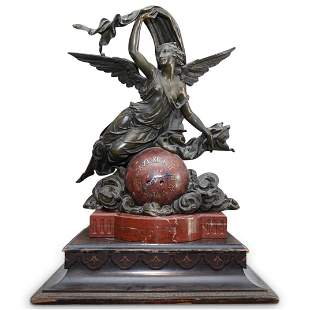 French L.F. Marble & Bronze Mantle Clock