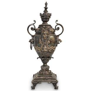 19th Cent. Ornate Silvered Bronze Urn