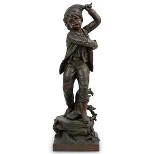 Antique Spelter Boy Sculpture