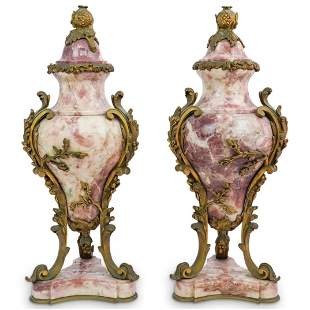 French Marble and Bronze Cassolettes Urns