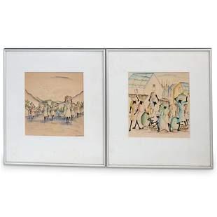 (2 Pc) Pair of Martino Dorce (Haiti, 1943) Watercolors