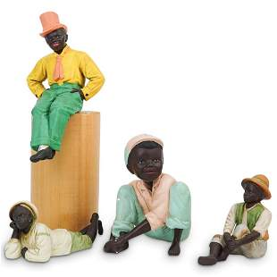 (4Pc) Black Americana Figural Grouping