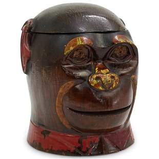 Victorian Monkey Head Wooden Box
