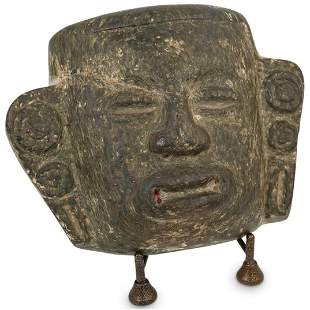 Primitive Pre Columbian Stone Carved Mask