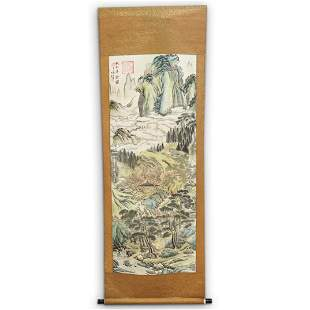 Antique Chinese Watercolor Landscape Scroll