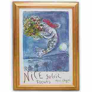 "Marc Chagall ""Nice Soleil Fleurs"" Hand Signed Print"