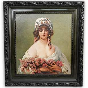 1921 Original Framed Oil Painting on Canvas