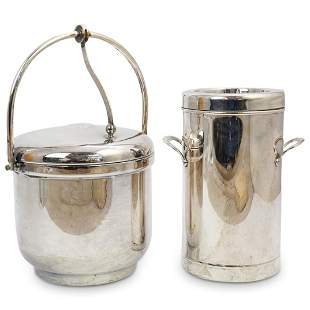 (2Pc) Silver Plated Ice Bucket & Wine Cooler