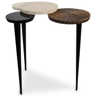Ginger Brown Shagreen Accent Table