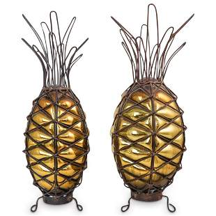 Antique Pair of Iron & Blown Glass Pineapples