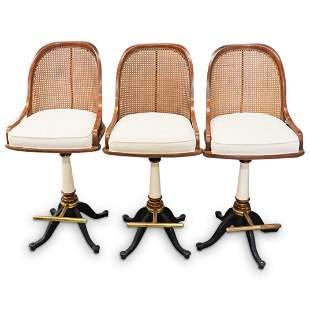 (3Pc) Drexel Cane Bar Chairs