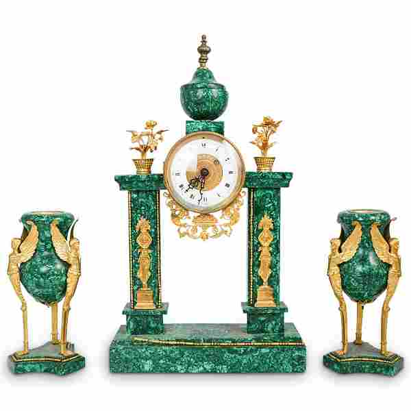 French Empire Malachite & Gilt Bronze Clock Garniture