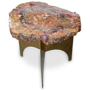 """Ado Chale"" Style Natural Petrified Wood & Brass Side"