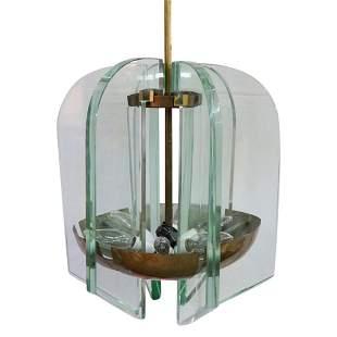 Fontana Arte Brass Glass Chandelier