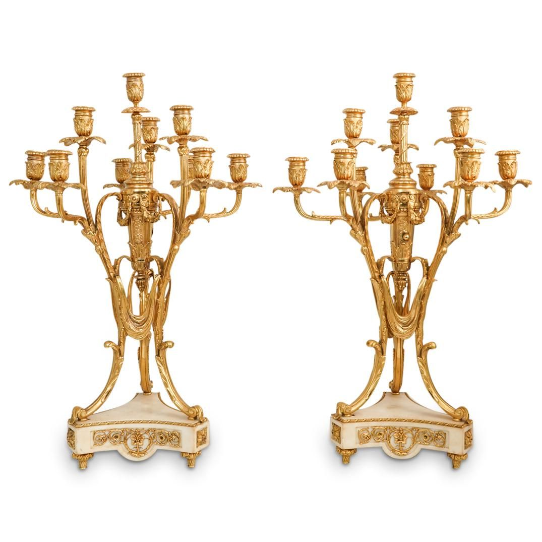 Antique French Bronze and Marble Candelabras
