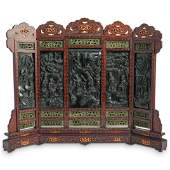 Chinese Carved Jade Five Panel Screen