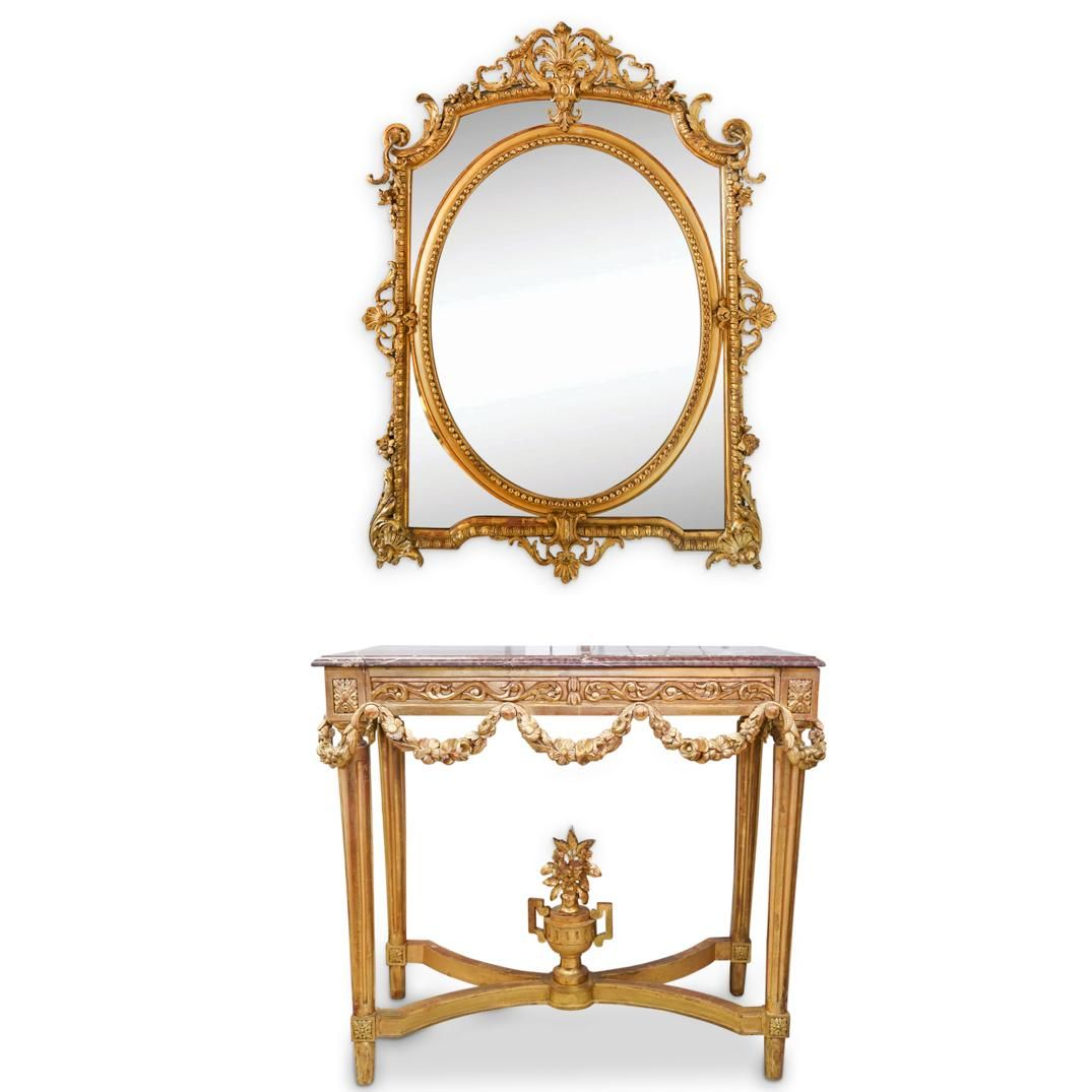 Antique Marble and Wood Console and Mirror