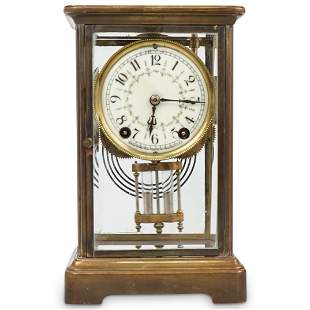 """""""New Haven Clock Co."""" Brass & Glass Mantle Clock"""