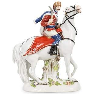 Meissen Hussar Horseback Porcelain Figure