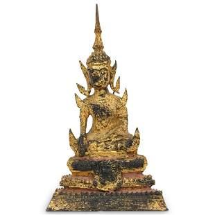 Antique Thai Gilt Bronze Buddha