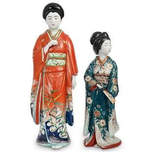 (2 Pc) Pair of Japanese Geisha Porcelain Figurines