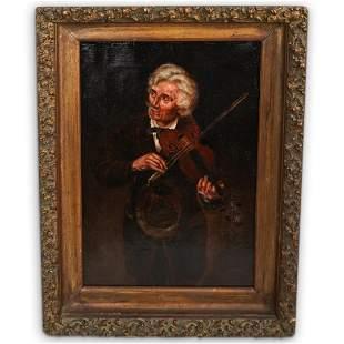 Antique Violinist Oil On Canvas