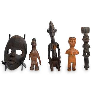 (5 Pc) Group Of African Wood Carvings
