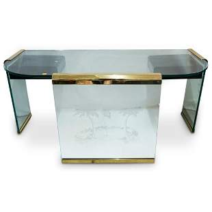 Leon Rosen For Pace Etched Glass Desk