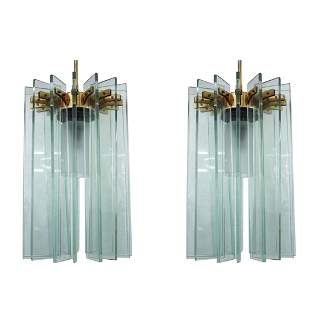 Pair of Fontana Arte Glass and Brass Chandeliers