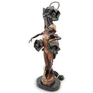 Art Nouveau Figural Bronze Lamp