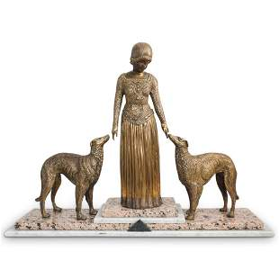 Art Deco Lady With Dogs Bronze