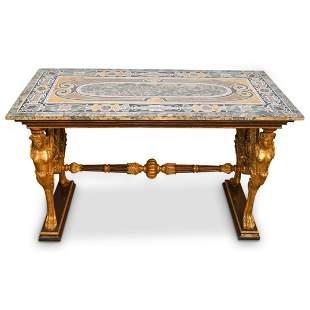 Italian Figural Gilt Carved Pietra Dura Top Table